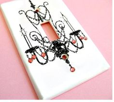 Rose Pink Crystal Chandelier Light Switch Cover Paris Bedroom Decor Lighting Prinecess Teen Girls Wall Decoration Room Decor on Etsy, $10.50