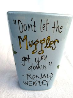 "Harry Potter ""Don't let the Muggles get you down"" Medium, pale blue square mug - Hand Painted Quote Mug with Owls. $15.00, via Etsy."