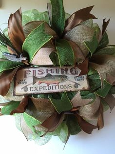 Fishing Expeditions Deco Mesh Wreath by Gypsy505Soul on Etsy