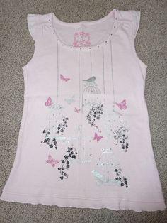 Girls Pumpkin Patch Pale Pink Bird Cage T-Shirt Top, Size 8