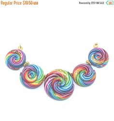 #Polymer_clay #handmade #ShuliDesigns #Ombre beads #Colorful #rainbow SUMMER SALE Spiral beads in rainbow colors Ombre by ShuliDesigns