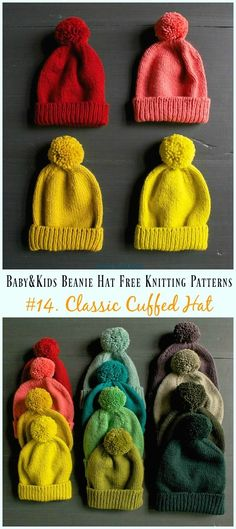 Baby & Kids Beanie Hat Free Knitting Patterns Classic Cuffed Hat Knitting Free Pattern - Baby & Kids Beanie Free Patterns Always aspired to discover . Baby Knitting Patterns, Kids Patterns, Knitting For Kids, Free Knitting, Crochet Patterns, Finger Knitting, Scarf Patterns, Knitting Machine, Knitting Ideas