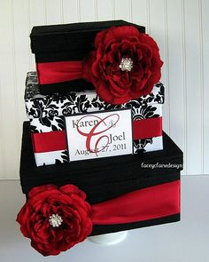 red, white and black damask card box