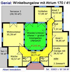 Grundriss bungalow mit atrium  Atrium Bungalow 117 16 24 Grundriss mit Erker und Turm ...