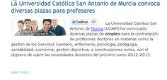 La Universidad Católica San Antonio de Murcia convoca diversas plazas para profesores