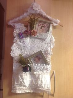 Shabby chic lacy hanger with pockets