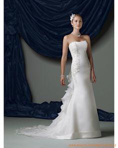 2013 neues Brautkleid aus Organsin herzförmiger Ausschnitt und schmaler Rock mit Kapelleschleppe