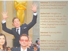 Andrew Scott's comments about Benedict's photo bombing skills.