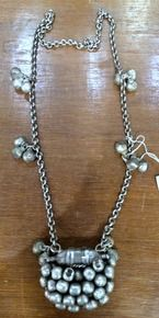 vintage ethnic tribal old silver pendant chain necklace antique jewelry -109