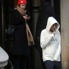 Louis and Danielle leaving a hotel in Lon today!