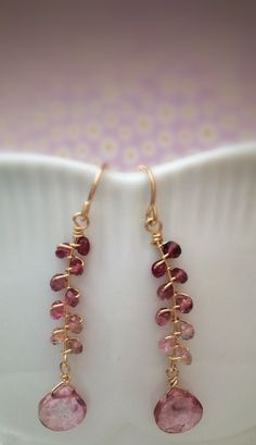 Faceted Tourmaline 14k Gold Fill Wire Wrapped Earrings by Belle Bijou Atelier
