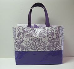"https://flic.kr/p/FQCHoL | Wildly Purple Oil Cloth Tote | Added this 16""w x 13""T x 8""D Oil Cloth Tote to the Wildly Purple Quilt which makes it a Picnic Tote & Quilt Set. Tote has 8 Interior Pockets - 5 Pleated Pockets, 2 Slip Pockets, & 1 Zippered Pocket"