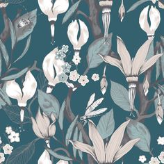 Haltiatar Turquoise  wallpaper by Vallila