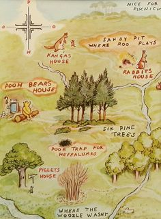 A Map of the 100 Acre wood in which Winnie the Pooh and his friends live. I think that this is important to have an understanding of the setting in which Pooh and friends live. Winnie The Pooh Nursery, Winne The Pooh, Winnie The Pooh Quotes, Eeyore Quotes, Vintage Winnie The Pooh, Art And Illustration, Pooh Bebe, Hundred Acre Woods, Christopher Robin