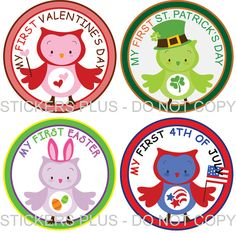 First Birthday Holidays Baby Onesie Stickers Boy by StickersPlus, $7.99