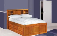 Full Captains Bed Bookcase with 3 Drawers and Trundle Desk Hutch and Chair in Honey Finish *** Click image to review more details.