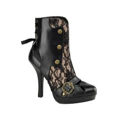 Women's Funtasma Cthulhu 62 Black/Cream PU US Women's 8 M (120 BRL) ❤ liked on Polyvore featuring shoes, boots, ankle booties, heels, steampunk, black, heeled booties, high heel ankle booties, black ankle bootie and black boots