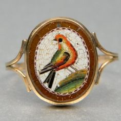 Micro mosaic ring depicting a bird. Italian circa 1850.