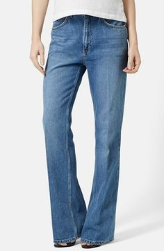Topshop Moto 'Quinn' Flare Jeans (Mid Denim) available at #Nordstrom