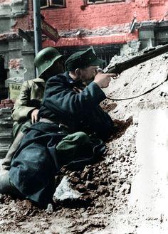 Warsaw uprising. Polish barricades. 1944.