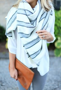 striped blanket scarf pulling together this monochrome look