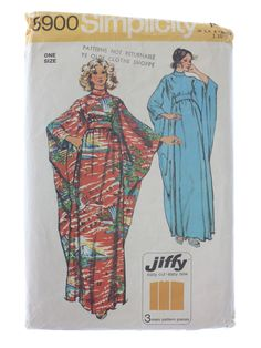 1973 -Simplicity Pattern No. 5900- Womens sewing pattern for batwing 7/8 sleeve caftan or long dress with bias roll collar, back zipper, sel...