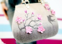 "Felted handbag ""The Cherry Tree Branch"" Wool Drawing Wet felted Spring Nice Gray Pink Handbag"
