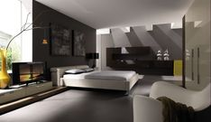 Modern Bedroom. this would match my home! everything is gray green and white!