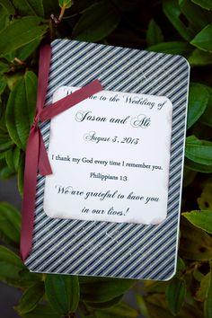 What a #sweetprogramcover! ::Ali + Jason's joyful summer wedding at the Prince of Peace Lutheran Church in Portland, Oregon:: #christianwedding #weddingideas #weddingprogram #rememberyou #prayers #christianfriends #ceremony #gettingmarried #weddingdetails #stripes #ribbon #scripture #thankmygod #philippians1