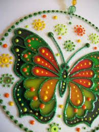 Resultado de imagen para vitrales artisticos en papel Glass Painting Patterns, Glass Painting Designs, Stained Glass Patterns, Stained Glass Art, Dot Painting, Paint Designs, Cd Crafts, Diy Arts And Crafts, Mandala Art