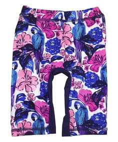 Purple Birds of Paradise Capri Swim Tights - Toddler & Girls