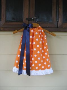 Orange Polka Dot Pillowcase Dress with White Tirm - sizes 3m to 6T - any color ribbon......GREAT for AUBURN and FLORIDA Fans on Etsy, $25.00