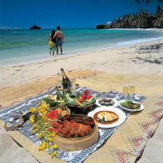 Tropical island  picnic at the beach
