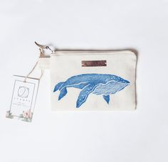 Whale Zipper Jewelry Pouch, Pencil Case, Purse, Cosmetic bag with handmade print Jewelry Shop, Unique Jewelry, Body Jewelry, Zipper Jewelry, Jewelry Pouches, Leather Label, Pencil Pouch, Pencil Cases, Jewellery Storage