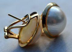 ESTATE 14K YELLOW GOLD MABE PEARL EARRINGS-585-PIERCED EARS-16.5mm-OMEGA BACKS #Stud