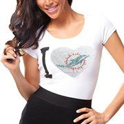 Miami Dolphins Ladies Touchback Slim Fit T-Shirt - White
