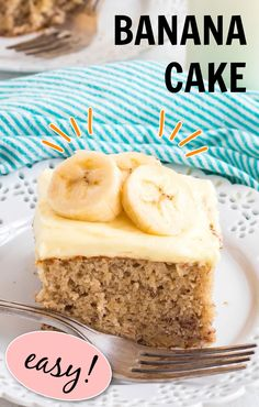 This banana cake using cake mix is positively delicious, easy to make and is topped with an amazing banana flavored whipped cream frosting! #amandascookin #bananacake