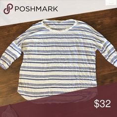 Splendid 3/4 sleeve oversized stripe tshirt Dolman-style (tight sleeves but the rest is baggy/oversized). Only worn once !! Splendid Tops Tees - Long Sleeve