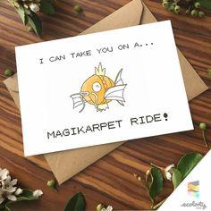 POKEMON GREETING CARD Magikarp | Pokemon Go⎥Pun⎥Couple⎥ Gift ⎥ Pikachu⎥ 90s Present⎥Love⎥Naughty⎥ Nintendo⎥ Boyfriend ⎥Girlfriend⎥Birthday⎥ Anniversary ⎥Gaming Nerd ⎥Geek⎥Pokemon Art ⎥Design⎥Pocket Monsters Cards⎥Handmade⎥Paper Goods | Aladdin Disney |