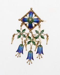 Gustav Gaudernack design for David Andersen. Gilt silver brooch with enamel bluebells and leafs. 1900-1903