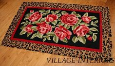 Cottage Chic Rose Leopard Hand Hooked Wool Accent 2 x Rug Leopard Bedroom Decor, Leopard Rug, Shabby Chic Rug, Polyester Rugs, Floor Cloth, Sweet Home Alabama, Rug Hooking, Cottage Chic, Rugs On Carpet
