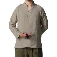 157c9fc39bc Mens Chinese Style V-Neck Cotton Linen T Shirt Casual Solid Color Long  Sleeve Loose Tee Tops