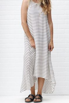 striped maxi dress white from ascot   hart