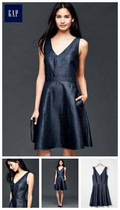 Double V-neck fit & flare chambray dress