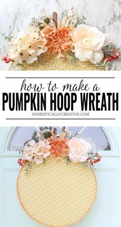 Take an embroidery wreath and turn it into a pumpkin! This diy pumpkin hoop wreath is such a cute idea for our front door. #pumpkinwreath #pumpkindecor #hoopwreath #wreath #diyproject #fall #domesticallycreative Wreath Hanger, Diy Wreath, Wreath Ideas, Pumpkin Wreath, Diy Pumpkin, Fall Crafts, Crafts To Make, Fall Wreaths, Christmas Wreaths