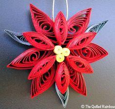 El Original Quilled Poinsettia flor ornamento de la Navidad