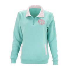 Monogrammed Mint Pullover with Pink Stripe Pattern (size: Large)