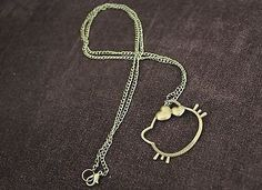 Vintage Hello Kitty Cat Shape Pendant Bronze Chain Necklace
