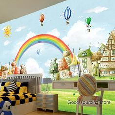 Non-woven customized bedroom rainbow photo wallpaper for child kids