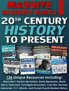 20th Century to Present (MASSIVE Resource Bundle) American and World History - This is a massive bundle that encompasses the 20th Century (1900's) to present! This resource is useful for teaching either American History or World History and totals 126 unique resources and totals over 1300 pages of content!